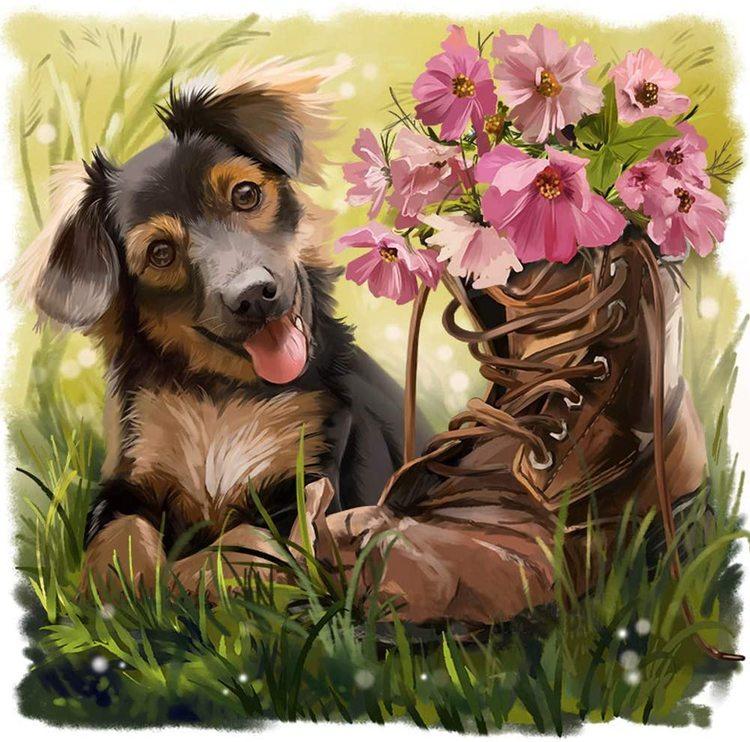 Diamanttavla Dog And Flowershoe 40x40