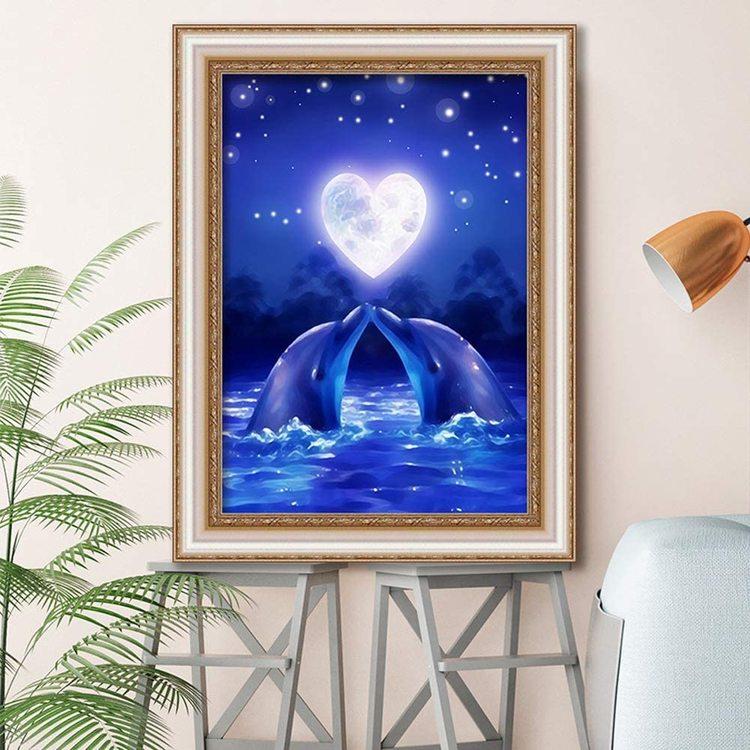 Diamanttavla Dolphin Love 30x40 - Leveranstid 1-3 Dagar