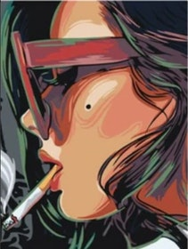 Paint By Numbers Smoking Woman  40x50