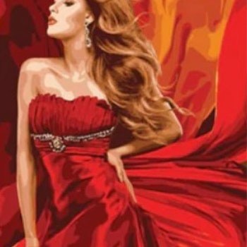 Paint By Numbers Red Dress Beauty  40x50