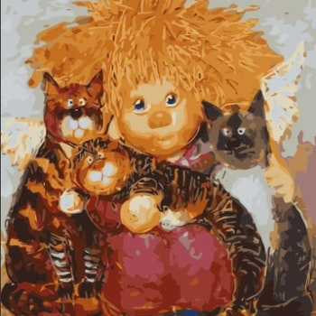 Paint By Numbers Trollängel Med Katter 40x50