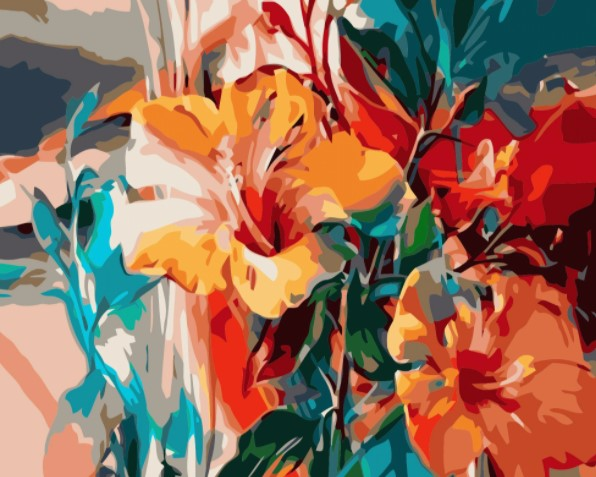Paint By Numbers  Colorful Flowers  40x50