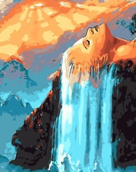 Paint By Numbers Woman Waterfall 40x50