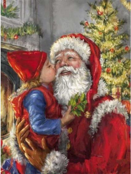 Diamanttavla Santa With Girl 40x50 - Leveranstid 1-3 Dagar