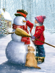 Diamanttavla Girl Builds A Snowman 40x50