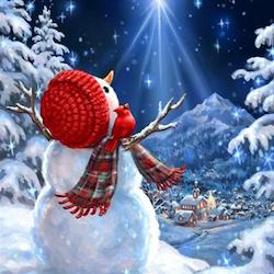 Diamanttavla Snowman Starlight 40x40 - Leveranstid 1-3 Dagar