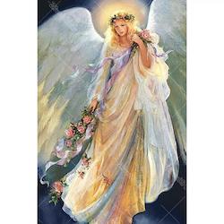 Diamanttavla Angel with Flowers 50x70