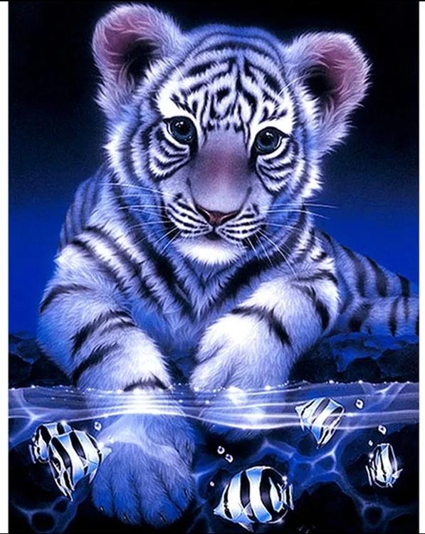 Diamanttavla White Tiger Fishes 40x50 - Leveranstid 1-3 Dagar