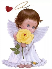 Diamanttavla Baby Angel Rose 30x40