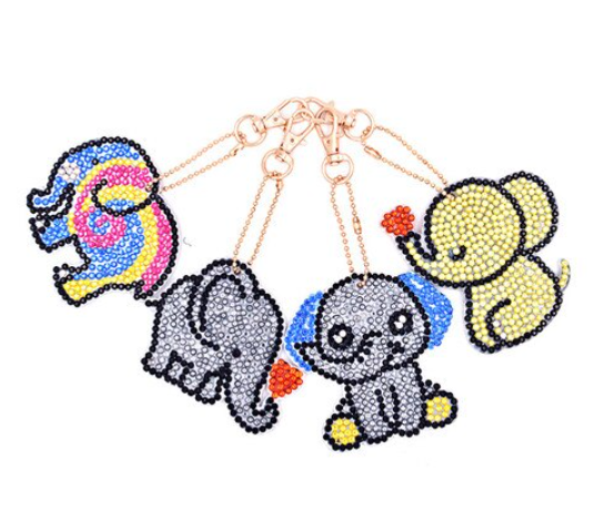 Diamond Painting Nyckelring Cute Elephants 4 Pack