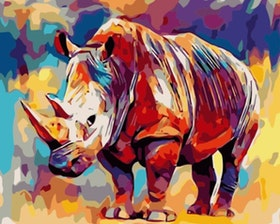 Paint By Numbers Color Rhino 40x50
