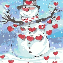 Paint By Numbers Snowman Heart 40x50