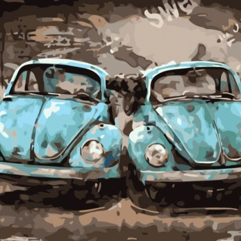 Paint By Numbers Nostalgi Cars 40x50