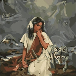 Paint By Numbers Indian And Wolves 40x50