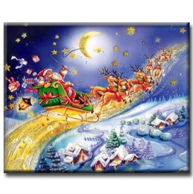 Diamanttavla Flying Santa 50x70