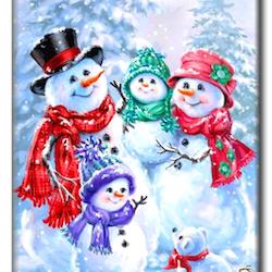 Diamanttavla Snowman Family 40x50 - Leveranstid 1-3 Dagar