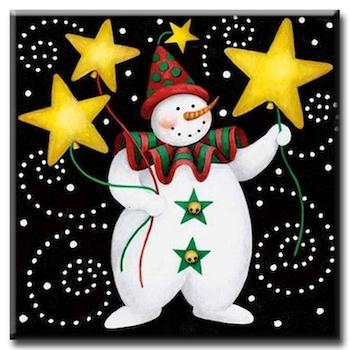 Diamanttavla Snowman With Stars 30x30