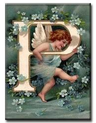 Diamanttavla (R) Angel Letter P 40x50