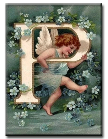 Diamanttavla (R) Angel Letter P 40x50