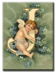Diamanttavla (R) Angel Letter J 40x50