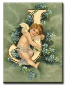 Diamanttavla (R) Angel Letter J 40x50