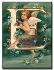 Diamanttavla (R) Angel Letter E 40x50