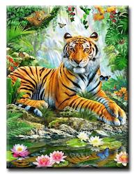 Diamanttavla Tiger Lotus 50x70