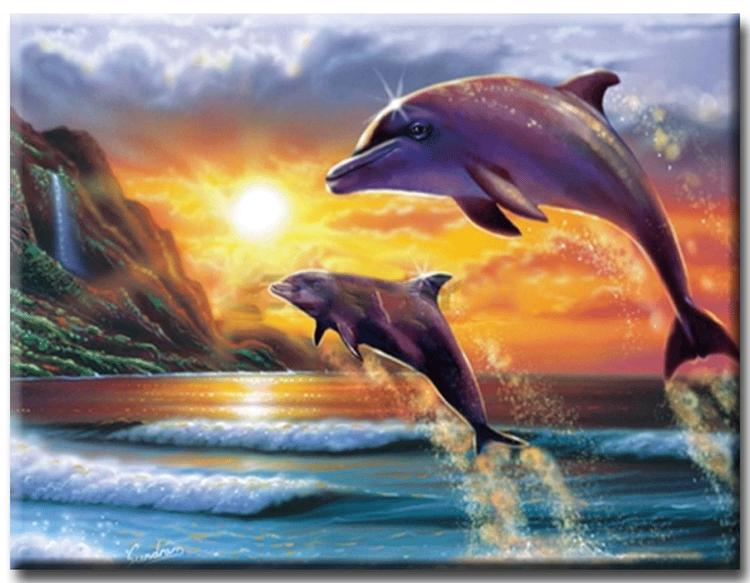 Diamanttavla Jumping Dolphins 40x50 - Leveranstid 1-3 Dagar