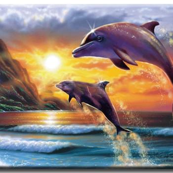 Diamanttavla Jumping Dolphins 40x50