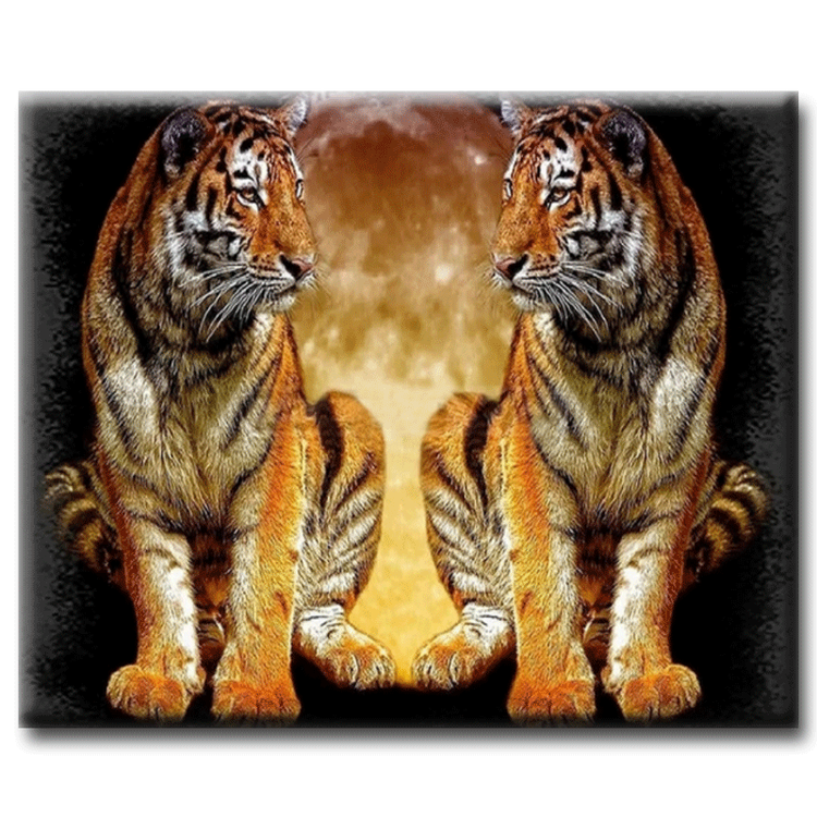 Diamanttavla Tiger Twins Moon 40x50