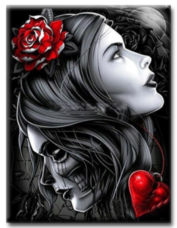 Diamanttavla Skull And Girl 40x50
