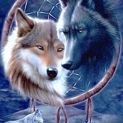 Diamanttavla Wolf Dreamcatcher 40x50
