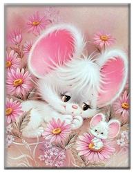 Diamanttavla Cute Mouse 30x40