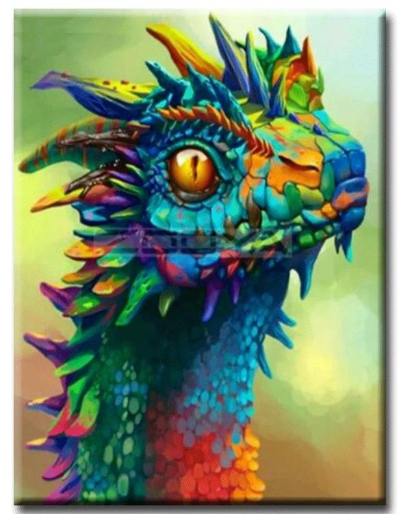 Diamanttavla (R) Color Dragon 30x40