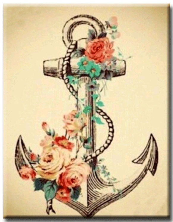 Diamanttavla Anchor Flower 40x55