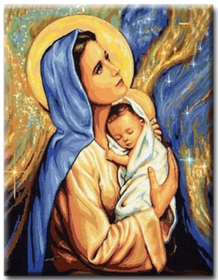 Diamanttavla Mary And Child 50x70