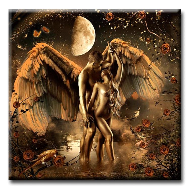 Diamanttavla Angel Lovers 50x50 - Leveranstid 1-3 Dagar