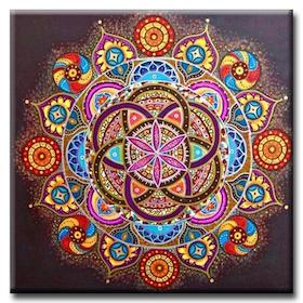 Diamanttavla Färgglad Mandala 50x50