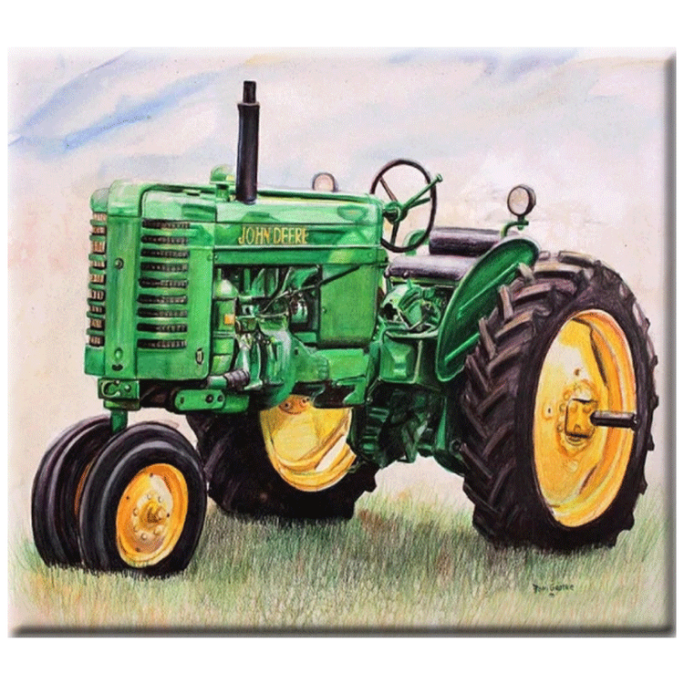 Diamanttavla (R) Green Tractor 40x50