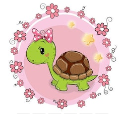 Diamanttavla Cartoon Cute Turtle 30x30