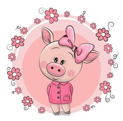 Diamanttavla Cartoon Cute Pig 30x30