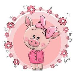 Diamanttavla Cartoon Cute Pig 30x30