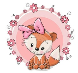 Diamanttavla Cartoon Cute Fox 30x30