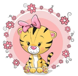 Diamanttavla Cartoon Cute Tiger 30x30