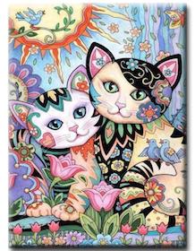 Diamanttavla Flowercats 40x50