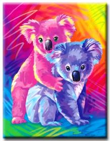 Diamanttavla (R) Colorful Koalas 30x40