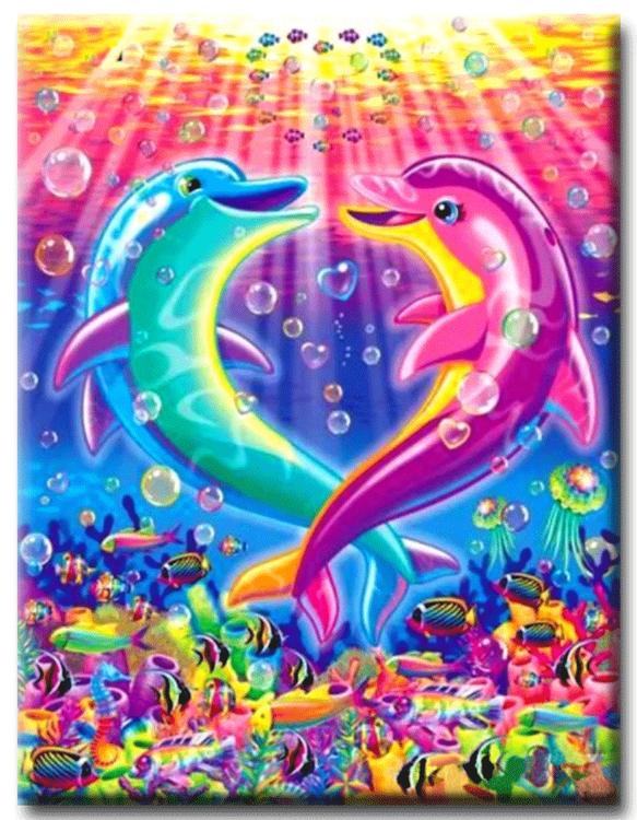 Diamanttavla Happy Colorful Dolphin 40x50
