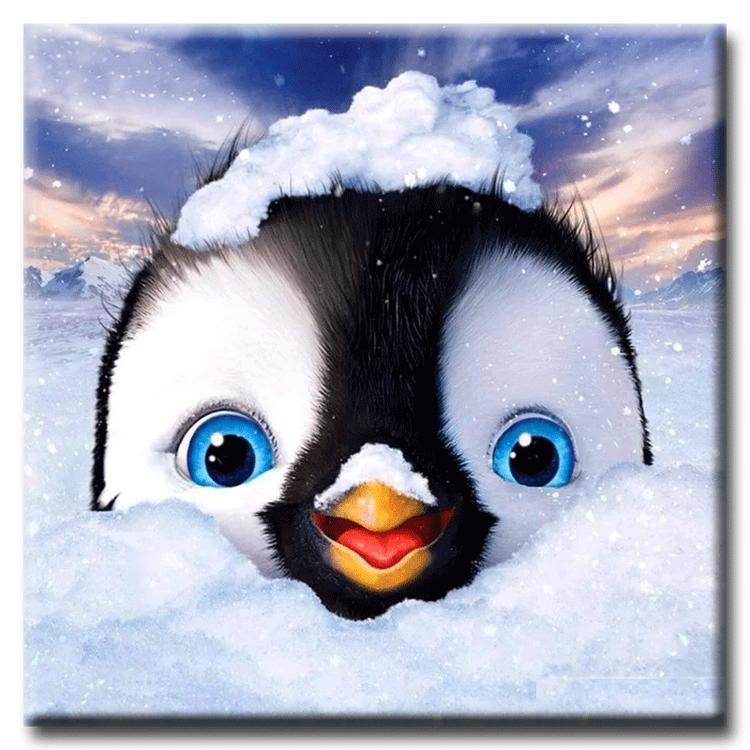 Diamanttavla Lovely Penguin 20x20