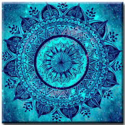 Diamanttavla Mandala Blue 50x50