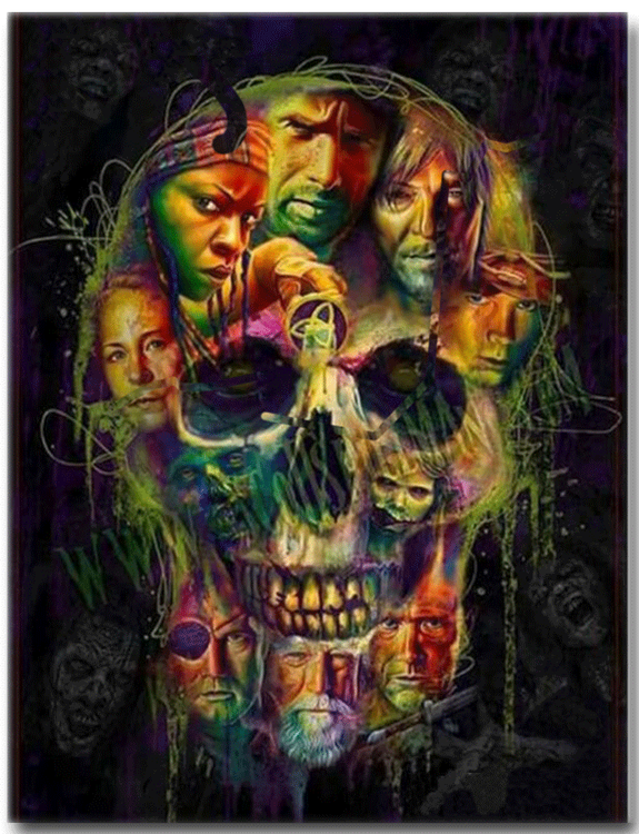 Diamanttavla The Walking Dead Skull 50x70